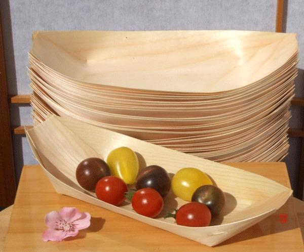 Large bamboo wood boats x 50 for party foods 225x125mm for Bamboo canape boats