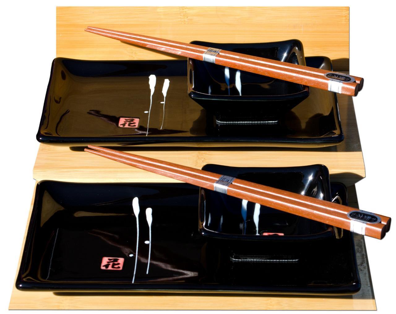 Sushi Set Black With White Japanese Calligraphy For 2 Ebay