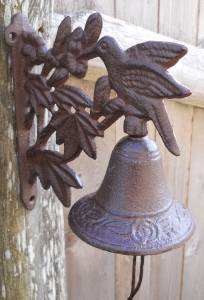 Cast Iron Hanging Hummingbird Bell Decorative Dinner Bells