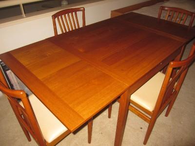 Ansager Mobler Modern Danish Teak Dining Table w/ Extension Leaves & 4 ...