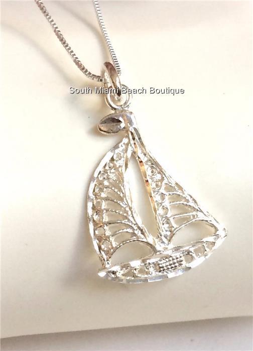 Sterling silver sailboat necklace pendant nautical beach sailing la foto se est cargando collar colgante plata esterlina velero nautica playa velero aloadofball Image collections