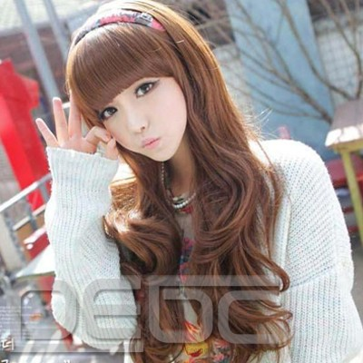 Korean style synthetic fashion women hair wig peluca long wavy with hair net peruca for girl tilted frisette