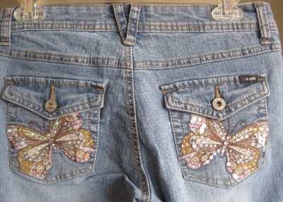 ANGELS JEANS EMBROIDERED CRYSTAL BUTTERFLY POCKETS STRETCH DENIM SZ.9