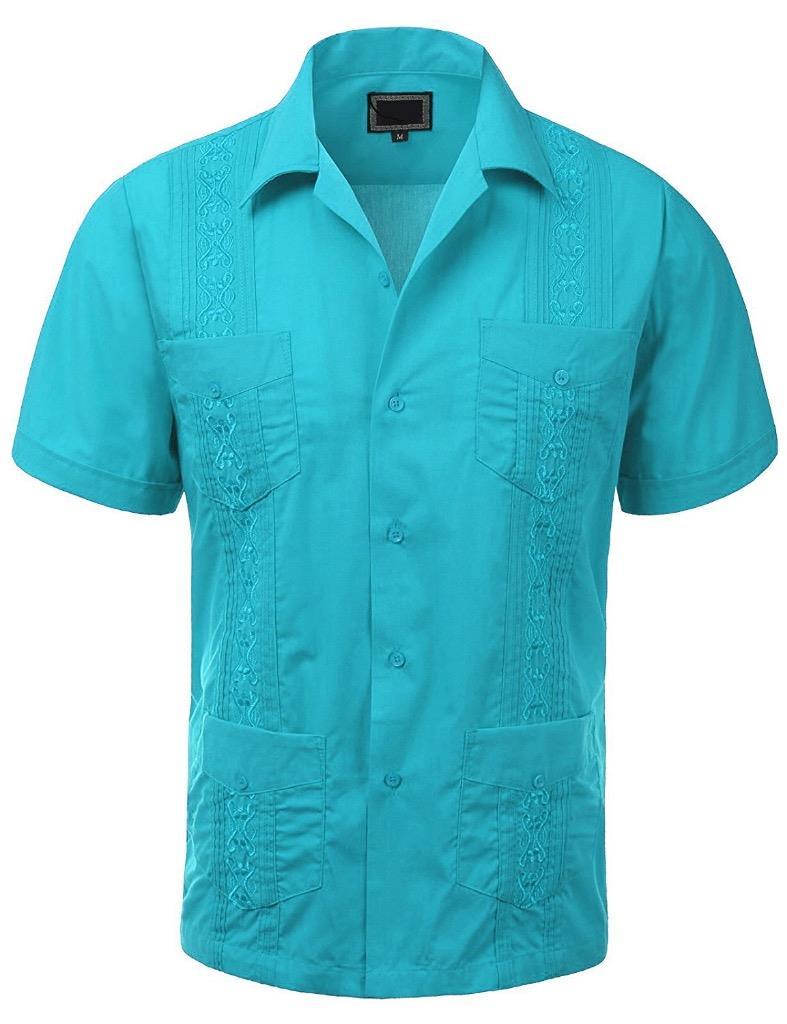 Guayabera men 39 s cuban beach wedding short sleeve button up for Guys button up shirts
