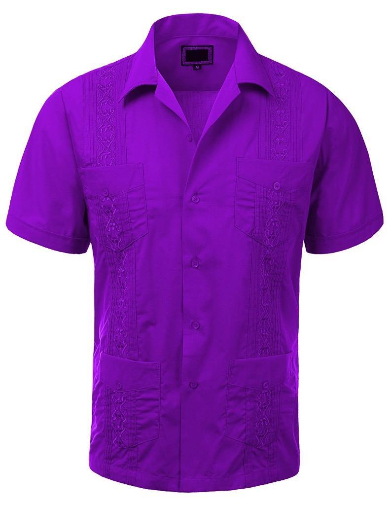 Guayabera men 39 s cuban beach wedding short sleeve button up for Mens coral short sleeve dress shirt