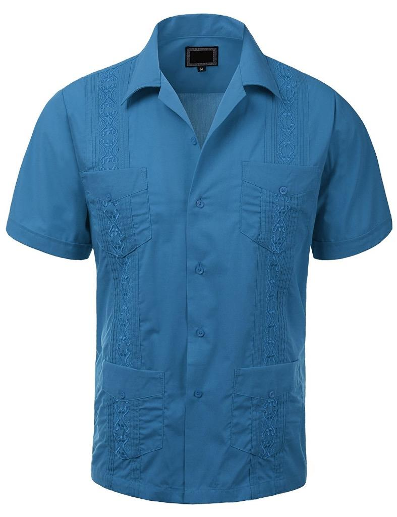 Guayabera Mens Cuban Beach Wedding Short Sleeve Button Up Casual Dress Shirt