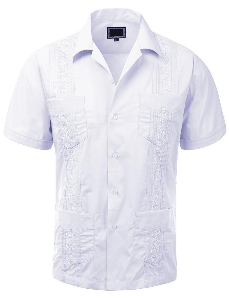 Guayabera Men 39 S Cuban Beach Wedding Short Sleeve Button Up