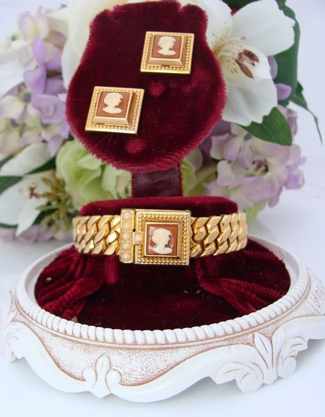 RARE-Antique-Vintage-10K-Gold-GF-SPEIDEL-CAMEO-Bracelet-Earrings-Set-BOX-DOME