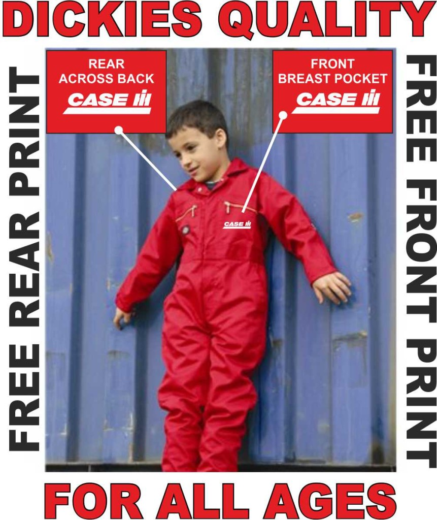 CHILDS KIDS DICKIES BOILERSUIT MASSEY CASE FREE PRINT