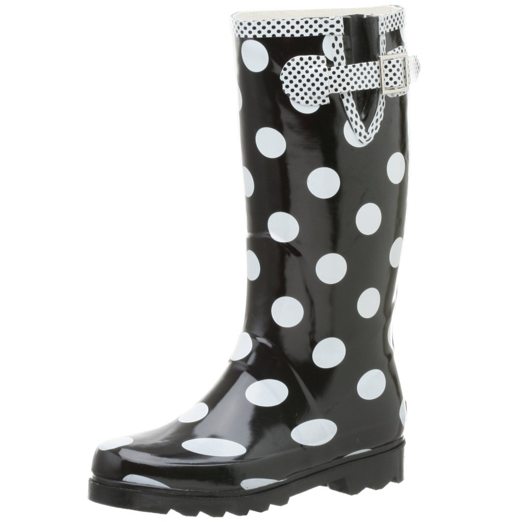 Lastest Fun Red And Black Womens Polka Dot Design Mid Calf Rain Boots