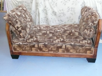 Rare art deco day bed chaise lounge c 1930 original fabric for Art deco chaise lounge