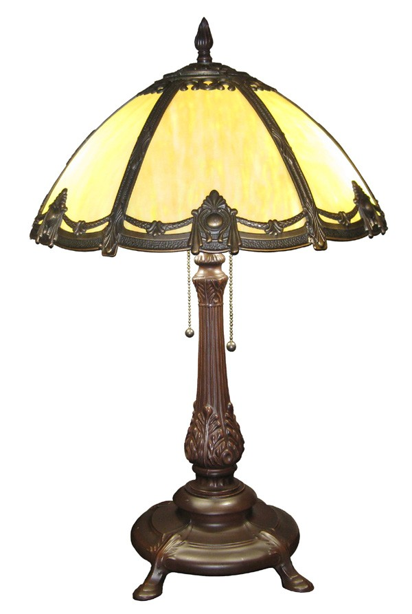 ANTIQUE VICTORIAN STYLE TABLE LAMP BENT STAINED GLASS