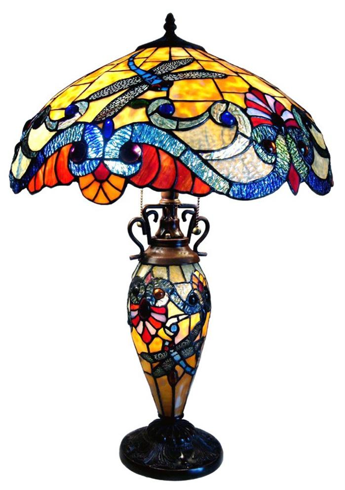 lit dragonfly tiffany style lighted base table lamp stained glass 18. Black Bedroom Furniture Sets. Home Design Ideas
