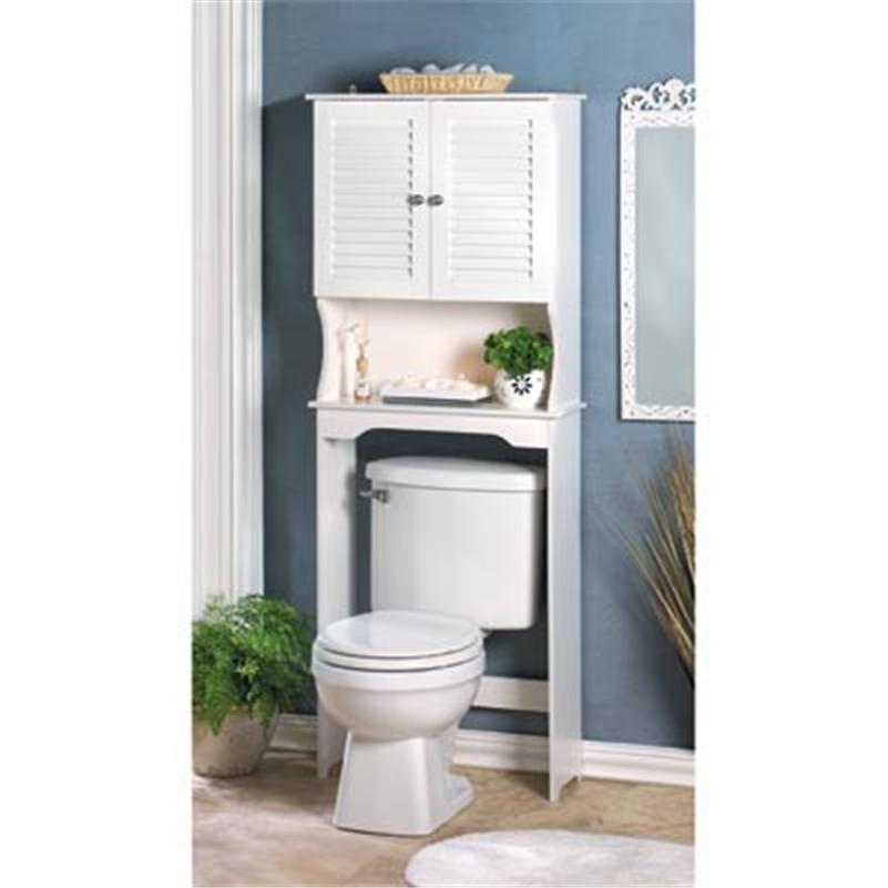 Creative OVER THE TOILET BATHROOM STORAGE CABINET SHELVES RACK WHITE