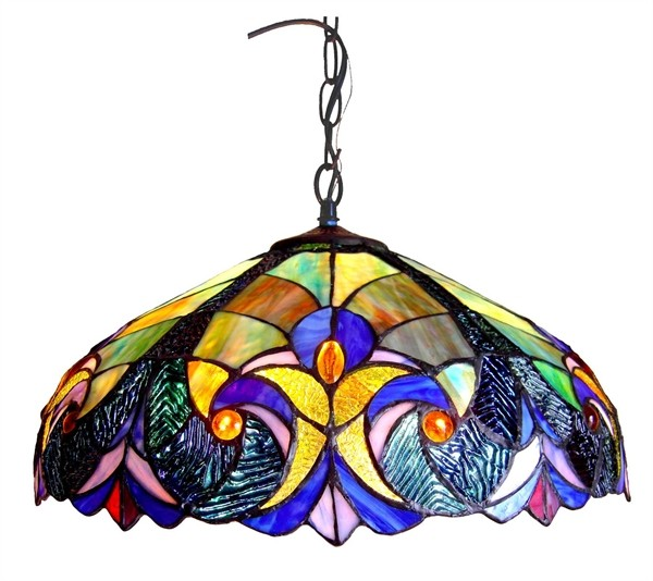 victorian pendant ceiling lamp light fixture stained glass 18 shade. Black Bedroom Furniture Sets. Home Design Ideas