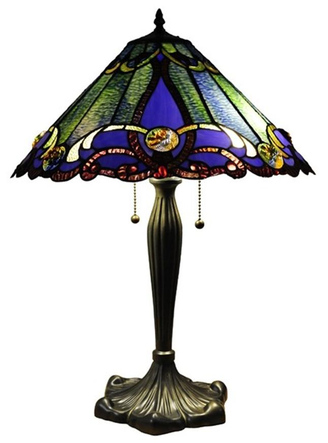 tiffany style table lamp stained glass 18 shade 18b518 ebay. Black Bedroom Furniture Sets. Home Design Ideas