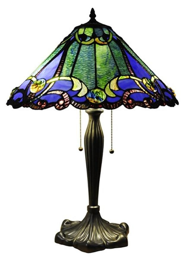 blue victorian tiffany style table lamp stained glass 18. Black Bedroom Furniture Sets. Home Design Ideas
