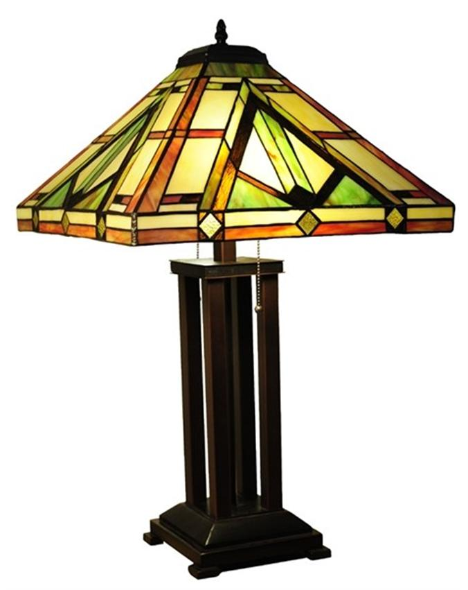 mission tiffany style lighted base table lamp stained glass 15 shade 18019. Black Bedroom Furniture Sets. Home Design Ideas