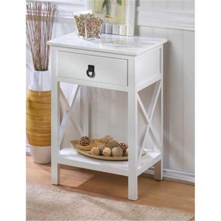 White wood end side accent night table storage 15214 ebay for White side table