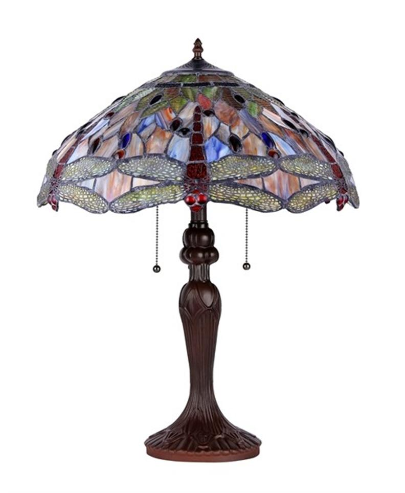 dragonfly tiffany style table lamp stained glass 18 shade 2825db18. Black Bedroom Furniture Sets. Home Design Ideas