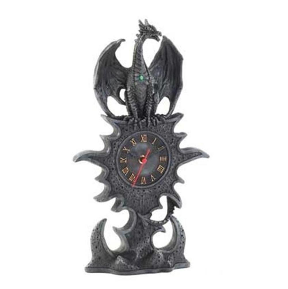 Black dragon mantel clock mythical figurine statue table decor 15257 ebay - Guarding dragon accent table ...