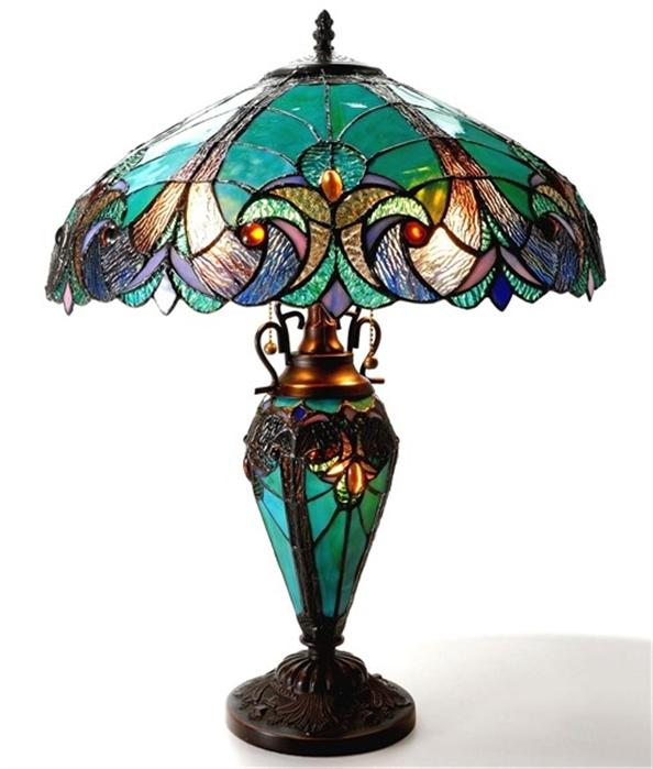 emerald table lamp lighted base tiffany style stained glass 18780vg18. Black Bedroom Furniture Sets. Home Design Ideas