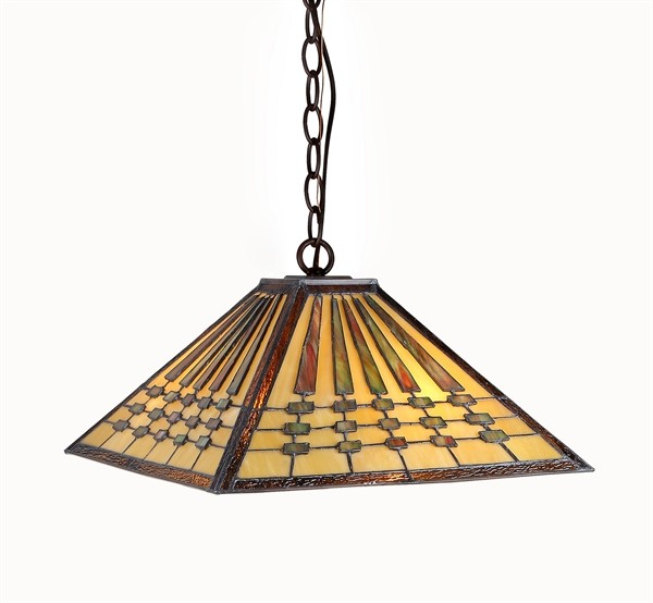 chadrick mission pendant hanging lamp stained glass 18 shade 3215mg18. Black Bedroom Furniture Sets. Home Design Ideas