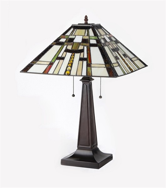 farley mission table lamp tiffany style stained glass shade 16 33290ms16 tl2 ebay. Black Bedroom Furniture Sets. Home Design Ideas
