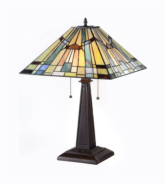 kinsey mission table lamp tiffany style stained glass shade 16 33293ms16 tl2 ebay. Black Bedroom Furniture Sets. Home Design Ideas