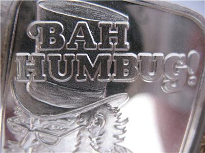 1 Ounce 999 Pure Silver Rare Christmas Bah Humbug Bullion