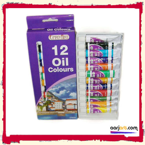12 OIL PAINTS SET FREE P&P inc crimson red, sap green, mauve