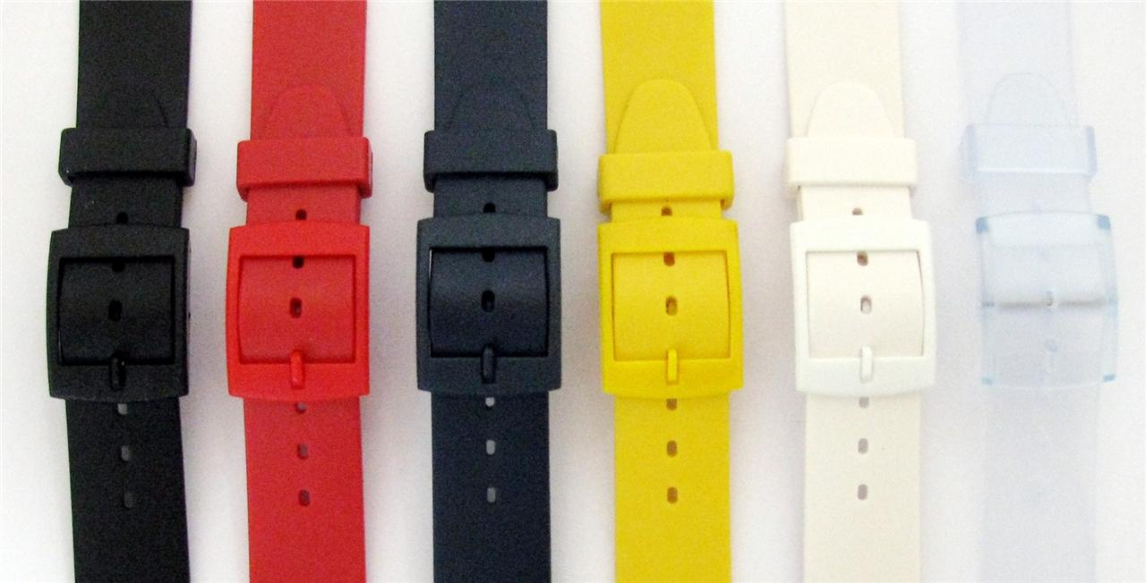 Ремешок для часов 12mm & 17mm Resin Watch Straps Swatch Style Ends Black White Red Yellow Blue etc