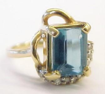 75ct Blue Topaz Diamond 14K Solid Yellow Gold Ring 4