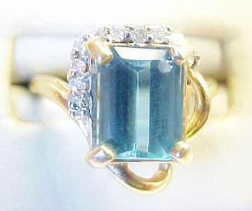 Blue Topaz Solitaire with Diamond Accents 14K Solid Yellow Gold Ring