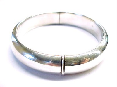 Sterling Silver Plain Hinged Fashion Bangle Bracelet ~ 7 1/4 x 1/2