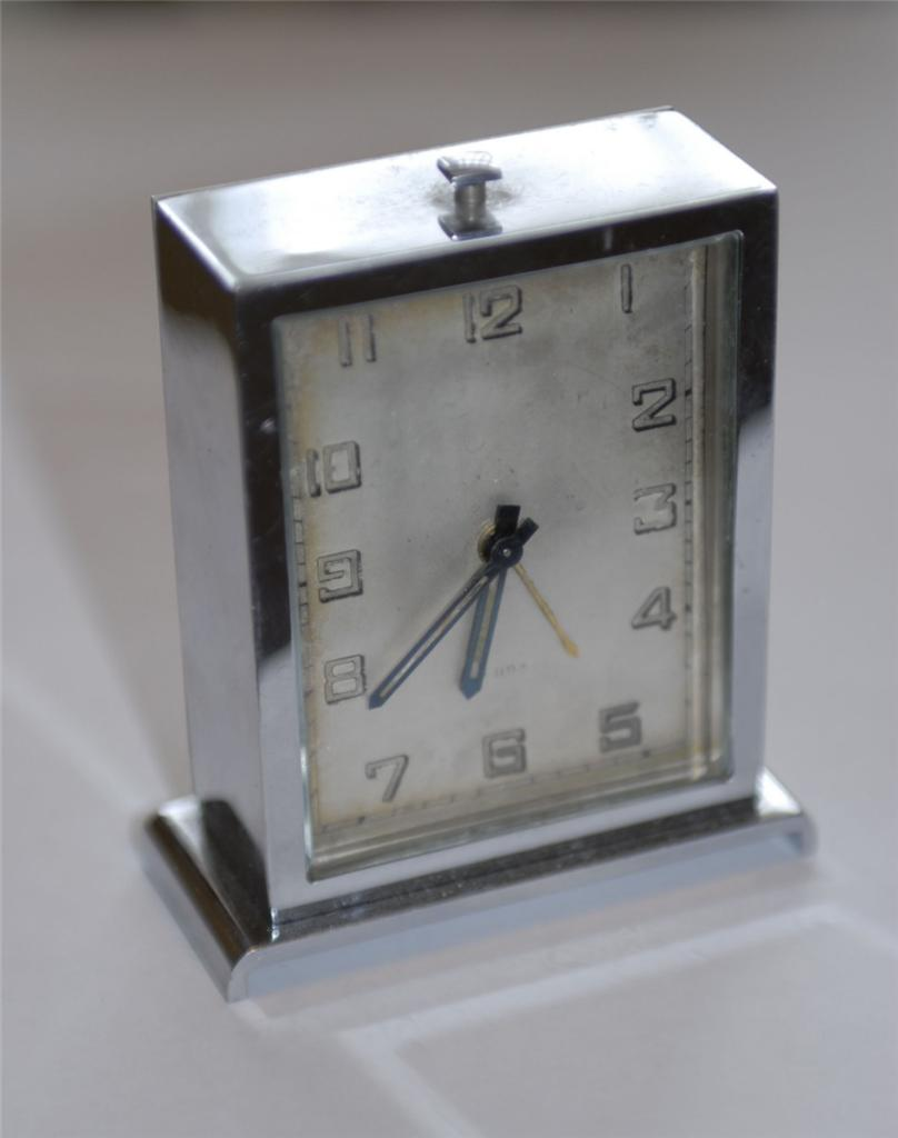 Antique modernist art deco 8 day alarm clock 1920 39 s 1930 Art deco alarm clocks