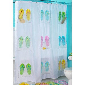 flip flop beach sandal shower curtain summer bath theme. Black Bedroom Furniture Sets. Home Design Ideas