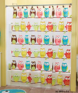 Owl vinyl shower curtain in stock fun colorful child blue pink brown