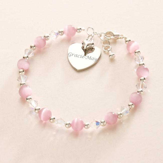 Children s girls jewellery engraved charm bracelet gift 4 flower girl