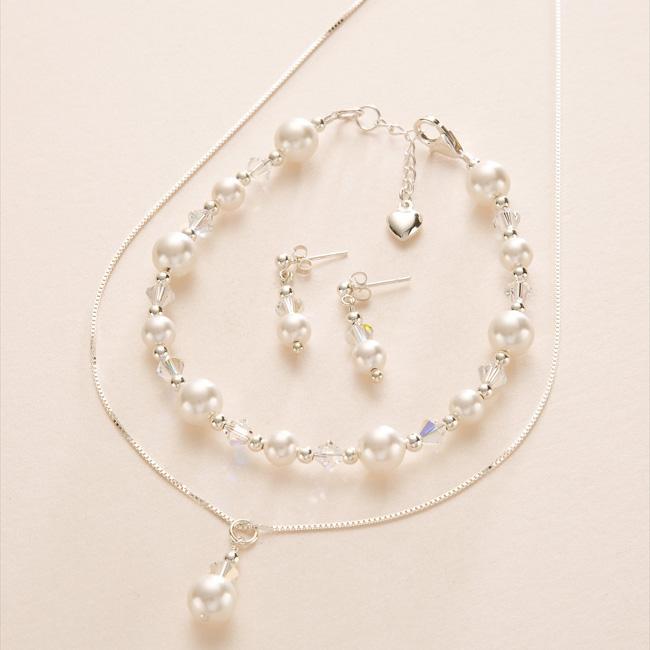 braut schmuck set perlen kristalle hochzeit halskette. Black Bedroom Furniture Sets. Home Design Ideas