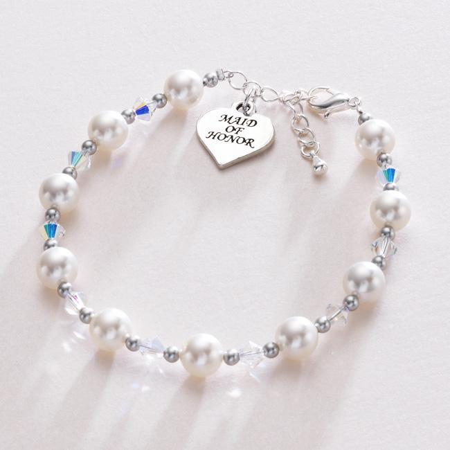 Maid-Of-Honor-Heart-Charm-Pearl-Bracelet-Wedding-Jewellery-White-ivory-pink