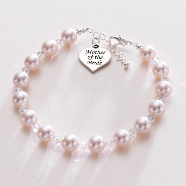 Gift-for-Mother-Of-The-Bride-Heart-Charm-Pearl-Bracelet-Wedding-Jewellery