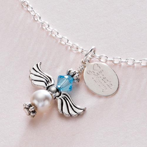 birthstone angel necklace with engraved tag jewellery for. Black Bedroom Furniture Sets. Home Design Ideas