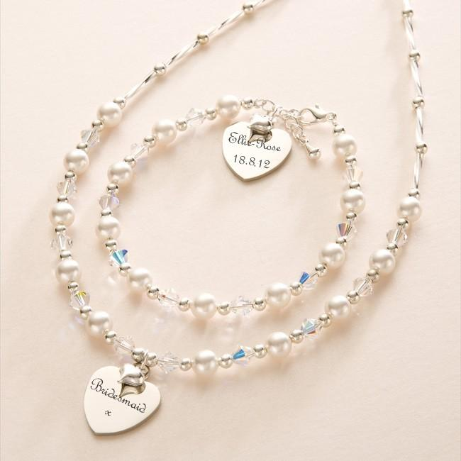 engraved wedding jewellery personalised bridesmaid