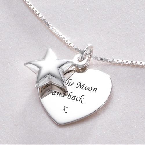 sterling silver pendant engraved necklace