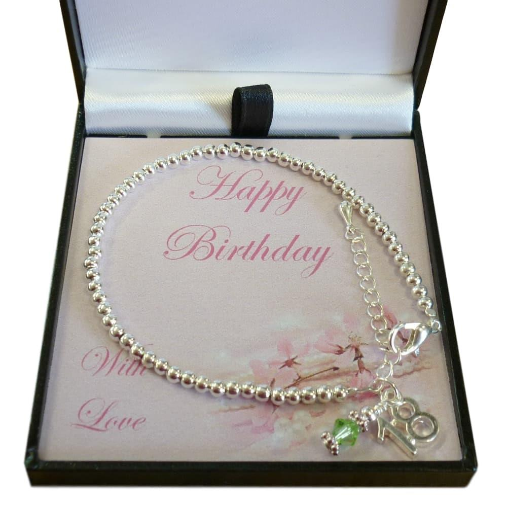16th, 18th Or 21st Birthday Gift Bracelet With Birthstone
