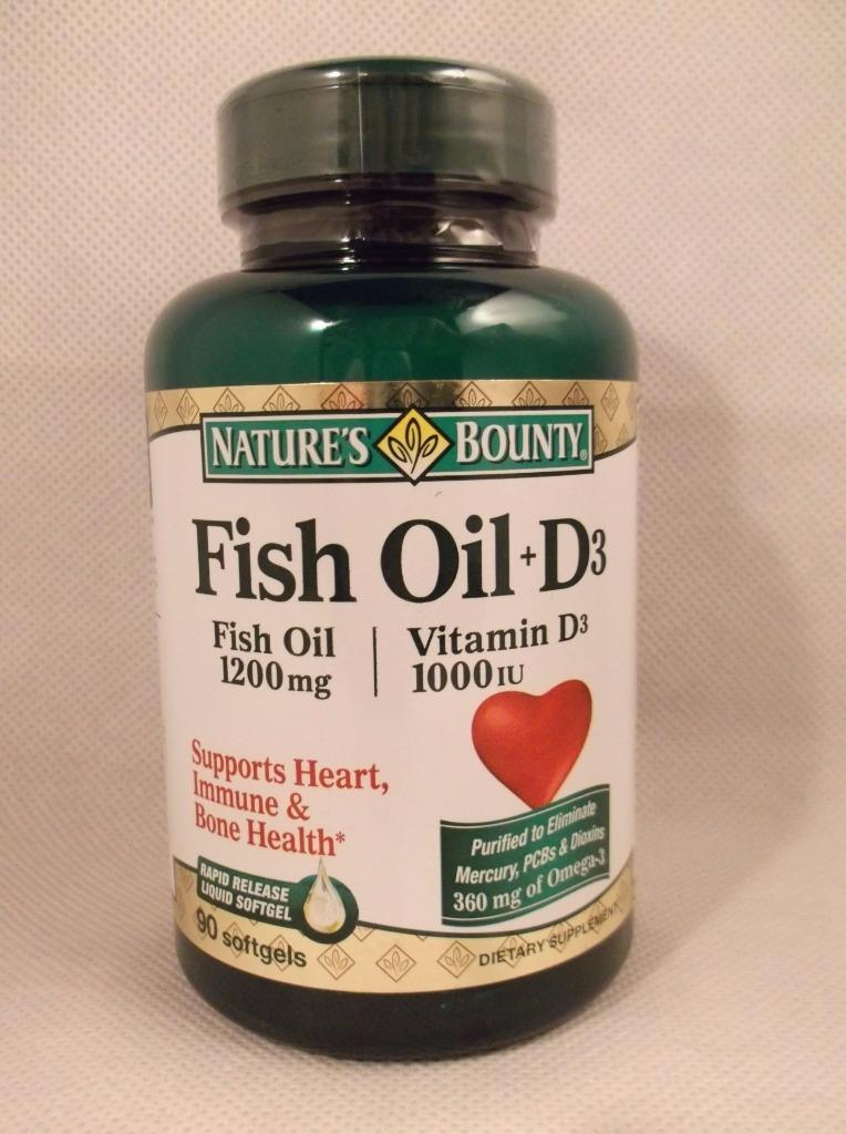 Nature 39 s bounty fish oil 1200mg plus vitamin d3 1000 iu for Fish oil vitamin d3
