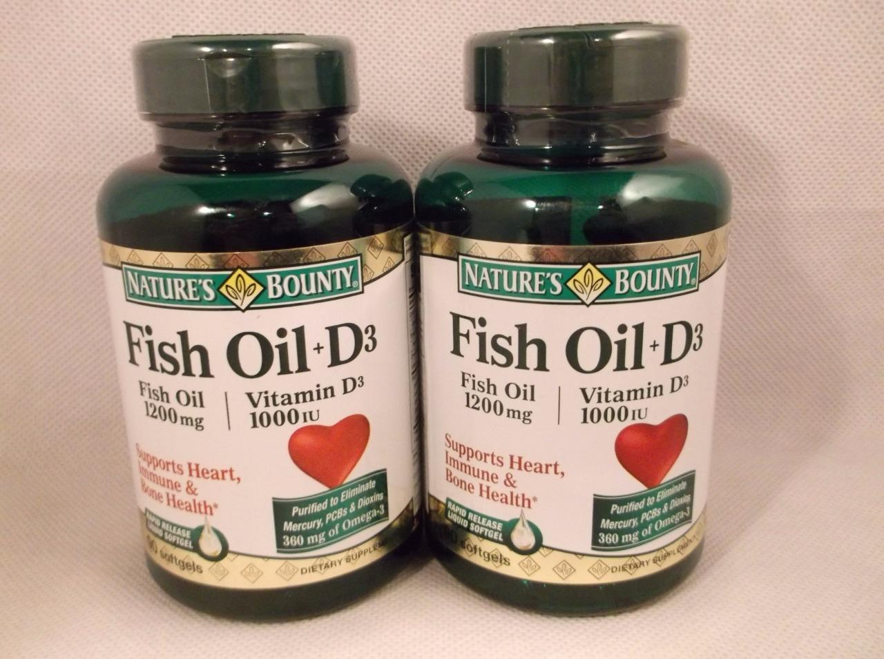 Nature 39 s bounty fish oil 1200mg plus vitamin d3 1000 iu for Multivitamin with fish oil