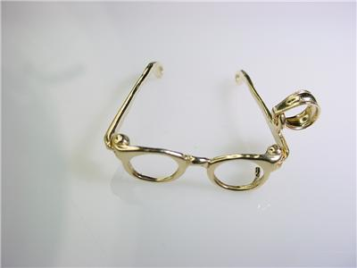14k 3D GOLD EYE GLASSES FRAME MOVEABLE OPEN CLOSE CHARM eBay