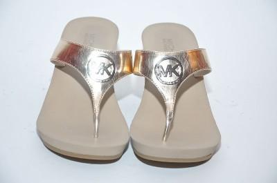 New Michael Kors Warren Gold Wedge Sculpted Heel Thong Sandal Shoes
